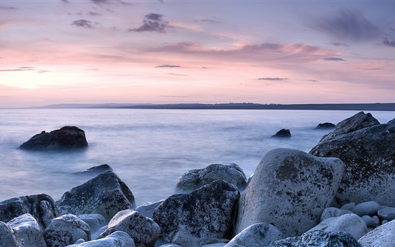Fond d'écran Chesil Beach, côte, roches, Portland, Dorset, Angleterre, Royaume-Uni