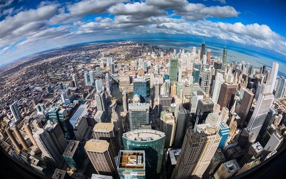 Fond d'écran Chicago, Illinois, vue de dessus de la ville, l'océan, gratte-ciel