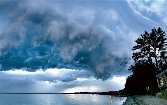 Wallpaper Chiemsee, lake, thick clouds, Upper Bavaria, Germany
