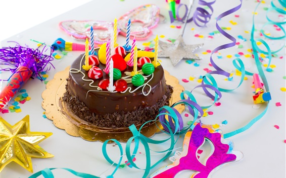 Wallpaper Chocolate cake, Happy Birthday, candles, colored ribbon