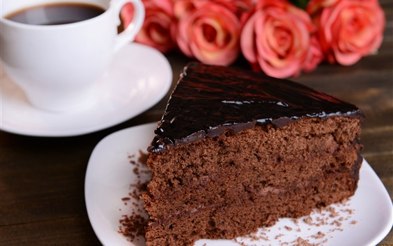 Обои Шоколадный торт, десерт, кофе, розовые цветы