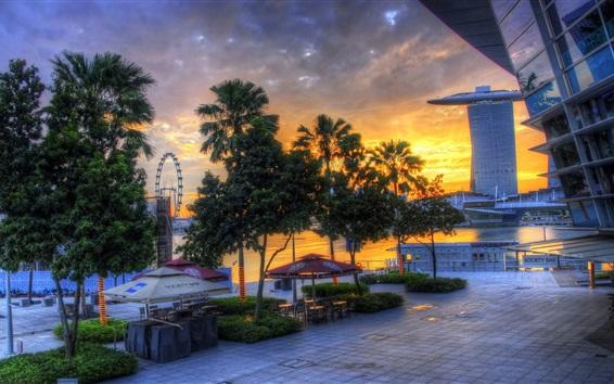 Обои Город на закате, Сингапур, небоскребы, деревья, улицы, реки