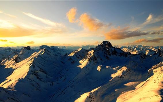 Wallpaper Clouds, snow, mountains, Alps, summer, sunset