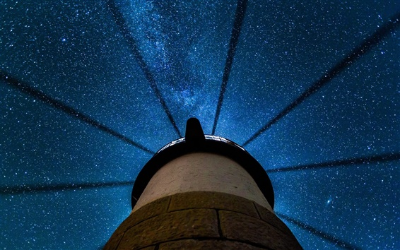 Обои Клайд, штат Мэн, США, красивая ночь, маяк, звезды