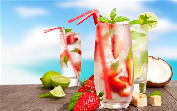 Wallpaper Cold drinks, cocktails, mojito, fruits, strawberry, lemon, coconut, summer