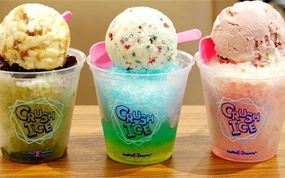 Bunte rasiert Eis, Sahne Ball, Dessert, Sommer kalte Getränke ...