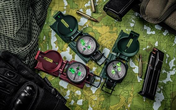 Wallpaper Compasses, map, bullets