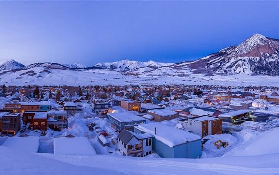 Fond d'écran Crested Butte, ville, neige épaisse, hiver, Colorado, États-Unis