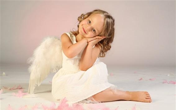 Обои Симпатичная маленькая девочка, ребенок, ангел, крылья