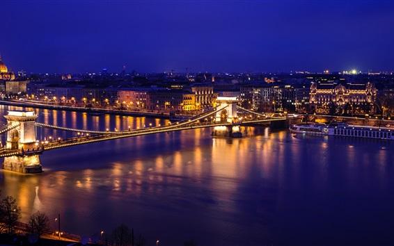 Papéis de Parede Rio Danúbio, Ponte das Correntes, noite, luzes, Budapeste, Hungria