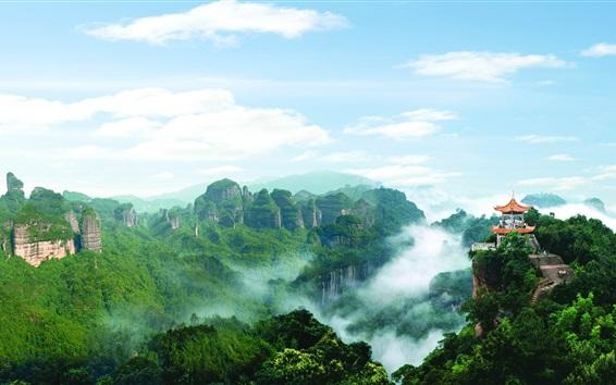 Fondos de pantalla Danxia montaña paisaje hermoso, pabellón, montañas, nubes, Guangdong, China