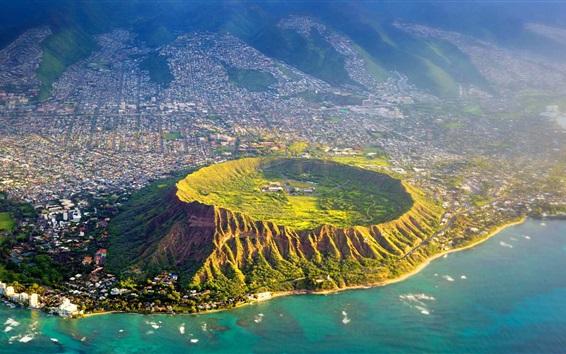 Wallpaper Diamond Head, Oahu, Hawaii, USA, top view