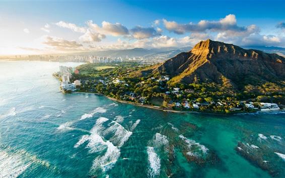 Papéis de Parede Diamond Head ao pôr do sol, Havaí, EUA, bela cidade, mar, costa