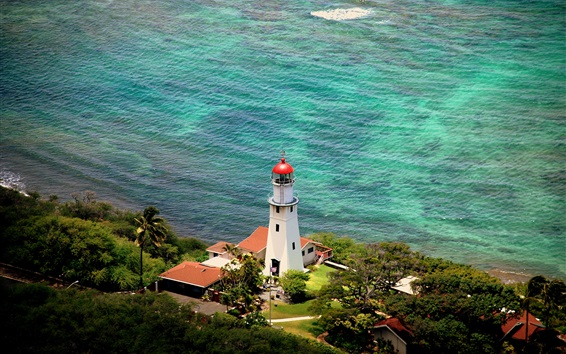 Wallpaper Diamond Head, lighthouse, Hawaii, USA, sea, coast