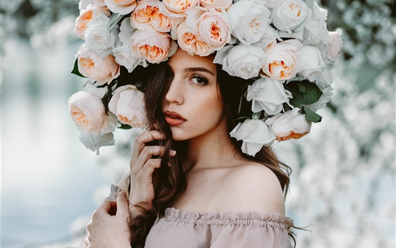 Fondos de pantalla estilo diferente, chica de pelo marrón, rosa sombrero de flores