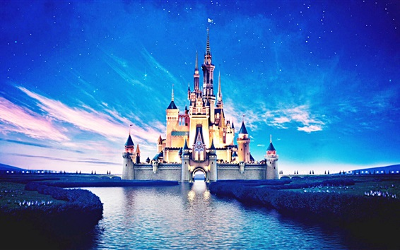 Wallpaper Disneyland castle, beautiful night view, river