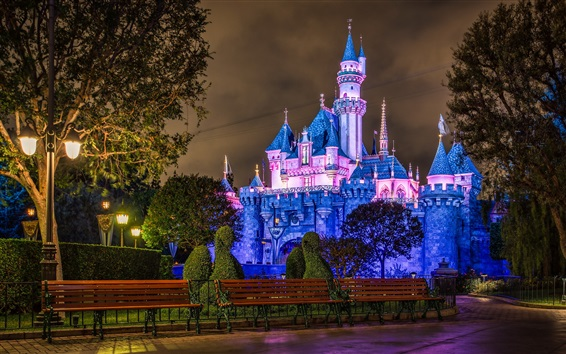 Wallpaper Disneyland, castle, blue style, night