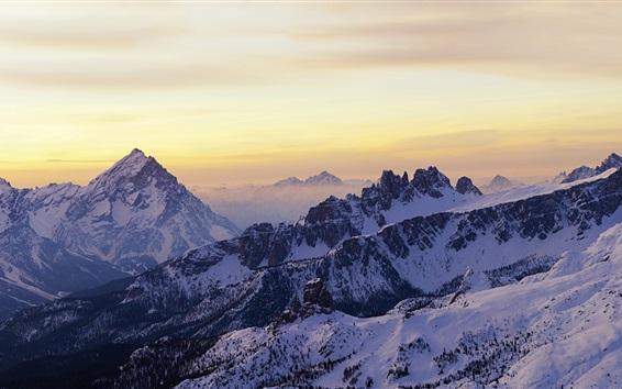 Wallpaper Dolomites, sunrise, snow, winter, Italy