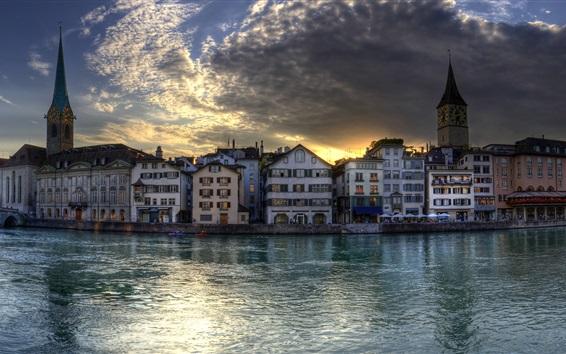 Fondos de pantalla Anochecer, casas, río, Zurich, Suiza