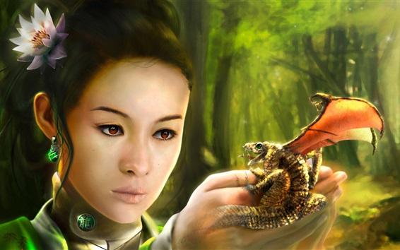 Fond d'écran Fantaisie chinoise fille, dragon, style rétro