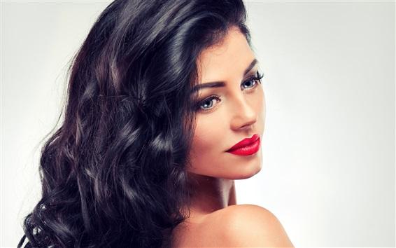 Wallpaper Fashion girl, makeup, lipstick, hair, look back