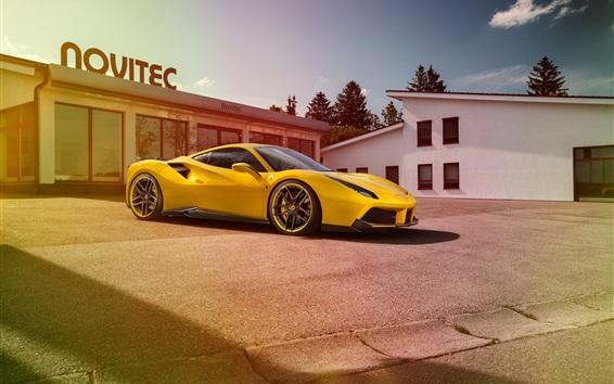 壁紙 フェラーリ488 GTB黄色のスーパーカー