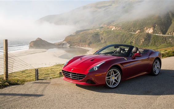 Обои Ferrari California красный суперкар, побережье, горы