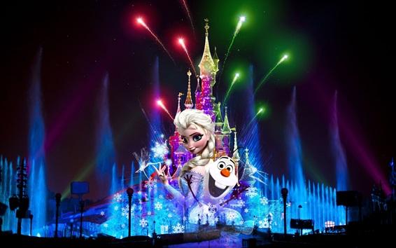 Papéis de Parede França, Paris, Disneyland à noite, fogo de artifício, Natal