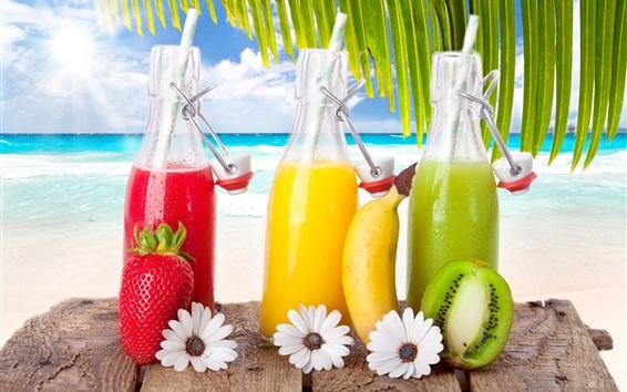 Fond d'écran Les boissons aux fruits, cocktails, fraise, banane, kiwi, mer, plage, tropical, soleil