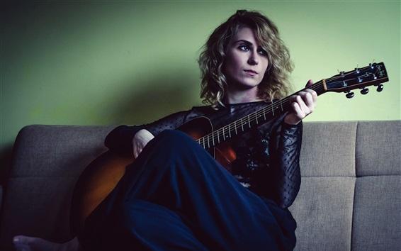 Wallpaper Girl sit on sofa, play guitar