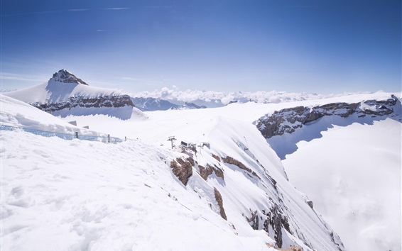 Fond d'écran Glacier 3000, neige épaisse, nuages, Suisse