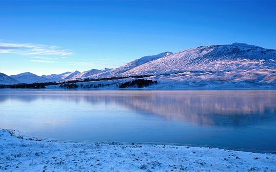 Wallpaper Glen Coe, river, winter, snow, mountains, Scotland, UK