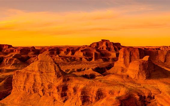 Wallpaper Gobi Desert, Mongolia, China, sunset, red style