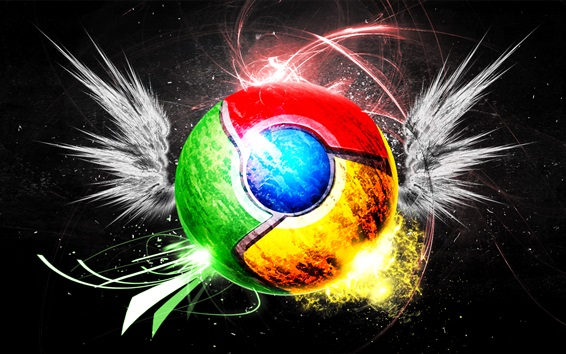 Wallpaper Google Chrome Logo, creative, wings, colorful