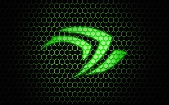 Fond d'écran Vert logo Nvidia, fond hexagone