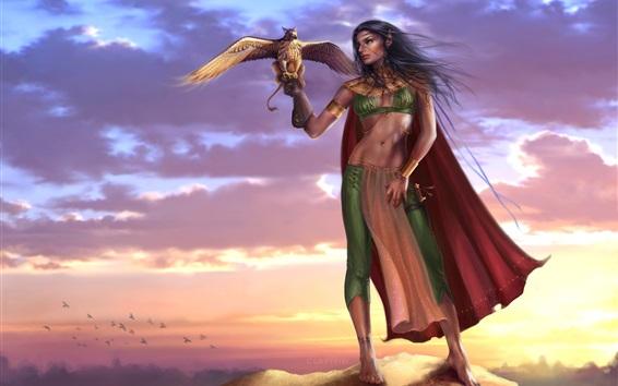Wallpaper Gryphon lady, elf, warrior, birds, sunset, fantasy girl
