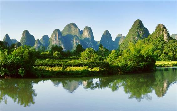 Hintergrundbilder Guilin, Yangshuo Landschaft, China, Berge, Flüsse, Wasserreflexion