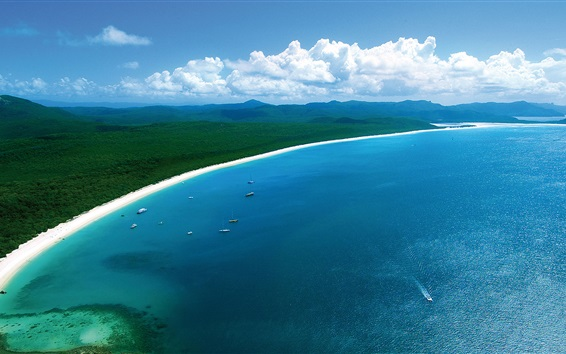 Fond d'écran Hamilton Island, belle plage de la côte, la mer bleue, les bateaux, l'Australie