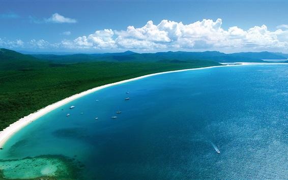 Wallpaper Hamilton Island, beautiful coast beach, blue sea, boats, Australia