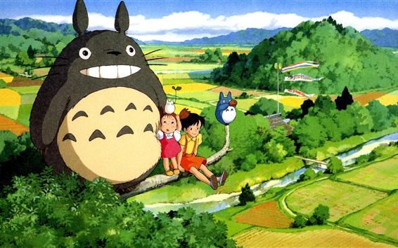 Wallpaper Hayao Miyazaki, My Neighbor Totoro, beautiful countryside
