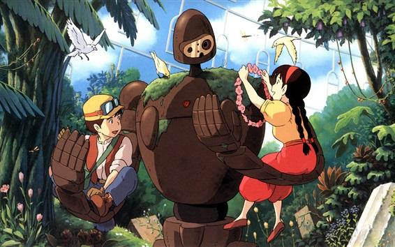 Wallpaper Hayao Miyazaki, Studio Ghibli, robot, girl and boy