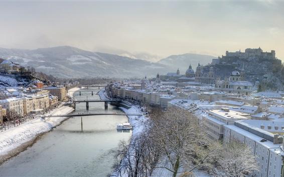 Обои Туманное утро, метель, река, Зальцбург, Австрия