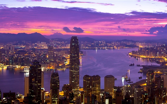 Обои Hong Kong красивая ночь, огни, небоскребы, бухта