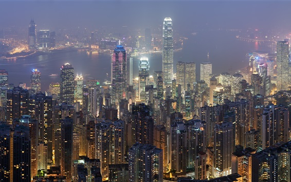 Wallpaper Hong Kong, skyscrapers, city night, lights, bay