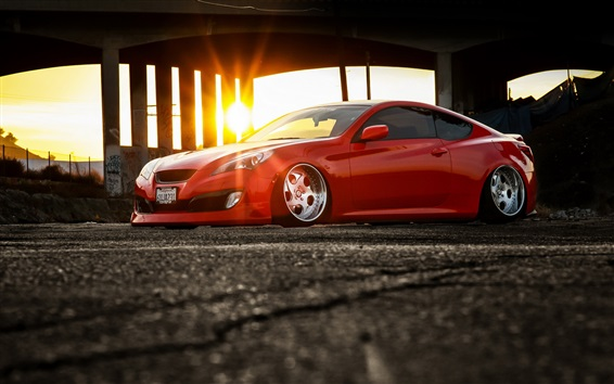 Wallpaper Hyundai Genesis red supercar side view