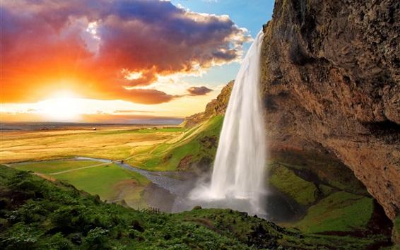 Wallpaper Iceland, Seljalandsfoss, waterfall, river, field, sunset