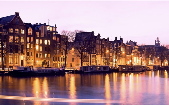 Wallpaper Illuminated, buildings, canal, night, Amsterdam, Netherlands