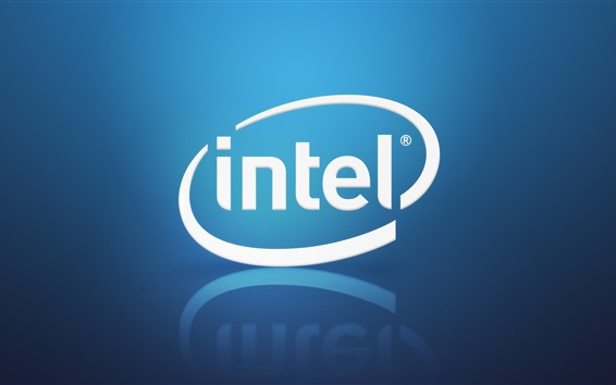Wallpaper Intel brand logo, blue background