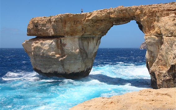 Wallpaper Island of Malta, Azure Window, sea, coast, waves