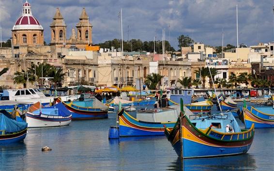 Обои Остров Мальта, лодки, дома, море